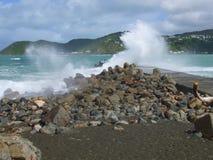 Κύματα που σπάζουν πέρα από το μώλο στον Ουέλλινγκτον, NZ Στοκ Φωτογραφίες