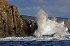 Κύματα που σπάζουν στη θάλασσα cliifs Στοκ Εικόνες