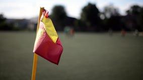 Κύματα σημαιών γωνιών ποδοσφαίρου απόθεμα βίντεο