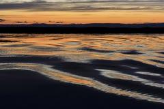 Κύματα στη λίμνη στο ηλιοβασίλεμα στοκ εικόνα
