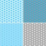 Κύματα τέσσερα άνευ ραφής μπλε σχέδια Στοκ Εικόνες