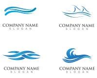 Κύματα της θάλασσας ή ωκεάνια κύματα, μπλε νερό, παφλασμός και θύελλα, διάνυσμα απεικόνιση αποθεμάτων