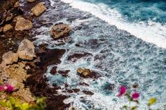Κύματα του Ειρηνικού Ωκεανού μέσω των λουλουδιών Bougainvillea Uluwatu, Μπαλί, Ινδονησία Στοκ Εικόνες