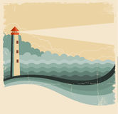 Κύματα φάρων και θάλασσας. Εκλεκτής ποιότητας εικόνα στο παλαιό υπόβαθρο Στοκ Φωτογραφία