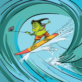 Κύμα βατράχων Surfer selfie Στοκ Εικόνες