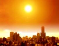 κύμα θερμότητας στο υπόβαθρο πόλεων και θαμπάδων Στοκ Εικόνες
