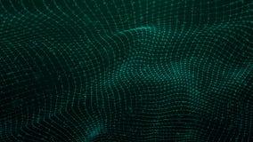 Κύμα με τα σημεία Δίκτυο των μορίων που συνδέονται με τις γραμμές Απεικόνιση πλέγματος Κοσμικό υπόβαθρο r διανυσματική απεικόνιση