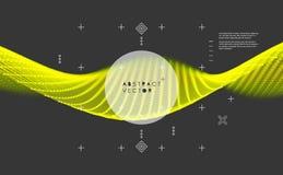 Κύμα με τις συνδεδεμένα γραμμές και τα σημεία Πλέγμα πυράκτωσης Δομή σύνδεσης επίσης corel σύρετε το διάνυσμα απεικόνισης Στοκ εικόνα με δικαίωμα ελεύθερης χρήσης
