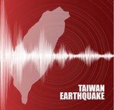 Κύμα σεισμού της Ταϊβάν με τη δόνηση κύκλων στο κόκκινο υπόβαθρο, την ακουστική έννοια διαγραμμάτων κυμάτων, το σχέδιο για την εκ απεικόνιση αποθεμάτων
