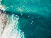 Κύμα Surfers και βαρελιών στον τροπικό μπλε ωκεανό εναέρια όψη Τοπ όψη στοκ φωτογραφία με δικαίωμα ελεύθερης χρήσης