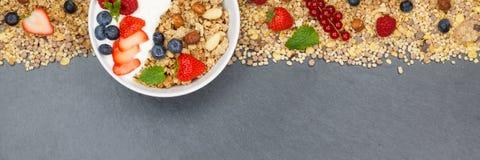 Κύπελλο μούρων δημητριακών φραουλών γιαουρτιού φρούτων προγευμάτων Muesli Στοκ φωτογραφίες με δικαίωμα ελεύθερης χρήσης