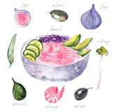 Κύπελλο σολομών με το watercolor αβοκάντο απεικόνιση αποθεμάτων