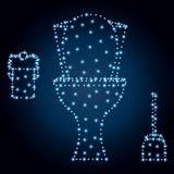 Κύπελλο τουαλετών, πολύγωνο, μπλε αστέρια 3 Στοκ Εικόνα