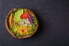 Κύπελλο του Βούδα με chickpea, αβοκάντο, άγριο ρύζι, quinoa σπόροι, πιπέρι κουδουνιών, ντομάτες, πράσινα, λάχανο, μαρούλι στη sha στοκ εικόνα