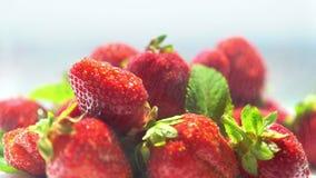 Κύπελλο των φρέσκων ώριμων φραουλών με τη μέντα απόθεμα βίντεο