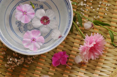 Κύπελλο με το νερό λουλουδιών στοκ φωτογραφία