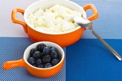 Κύπελλο με το σπίτι-τυρί και τα μούρα Στοκ Εικόνες