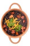 Κύπελλο της μαύρης σούπας φασολιών που διακοσμείται με το τυρί Στοκ φωτογραφία με δικαίωμα ελεύθερης χρήσης