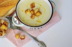 Κύπελλο της φυτικής σούπας Πουρές σούπας κουνουπιδιών με croutons Στοκ εικόνα με δικαίωμα ελεύθερης χρήσης