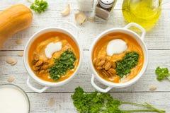 Κύπελλο του πικάντικου γάλακτος καρύδων κολοκύθας soupwith στοκ εικόνα