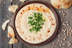Κύπελλο του hummus, κρεμώδη χορτοφάγα τρόφιμα με το νεοσσό στοκ εικόνες με δικαίωμα ελεύθερης χρήσης