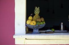 Κύπελλο φρούτων στο παράθυρο Στοκ εικόνες με δικαίωμα ελεύθερης χρήσης