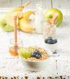 Κύπελλο oatmeal του κουάκερ με την πράσινους Apple, την μπανάνα, τα βακκίνια, τους σπόρους μελιού και Chia Στοκ εικόνες με δικαίωμα ελεύθερης χρήσης
