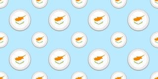 Κύπρος γύρω από το άνευ ραφής σχέδιο σημαιών Κυπριακό υπόβαθρο Διανυσματικά εικονίδια κύκλων Γεωμετρικά σύμβολα Σύσταση για τον α διανυσματική απεικόνιση