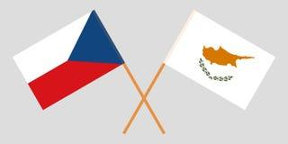 Κύπρος και τσέχικα Οι σημαίες των κυπριακών και Czechia Επίσημη αναλογία Σωστά χρώματα διάνυσμα διανυσματική απεικόνιση
