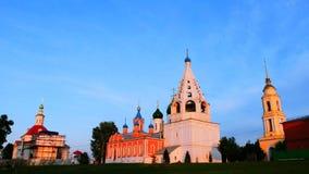Κύρια ορόσημα σε Kolomna, τις εκκλησίες της Ρωσίας και τα ιστορικά κτήρια απόθεμα βίντεο