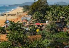 Κύρια παραλία Gokarna, άποψη από το λόφο, Karnataka, Ινδία στοκ φωτογραφία