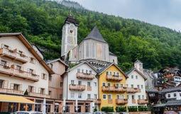 Κύρια πλατεία της πόλης Hallstatt, Αυστρία στοκ φωτογραφία