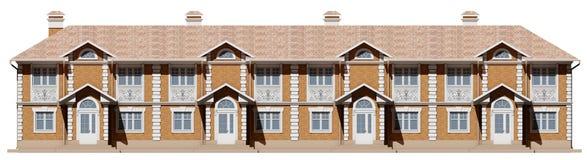 Κύρια πρόσοψη townhouses Σπίτια οδών σε τρισδιάστατο στοκ εικόνα με δικαίωμα ελεύθερης χρήσης