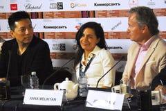 Κύρια συνέντευξη τύπου κριτικών επιτροπών ανταγωνισμού του διεθνούς φεστιβάλ ταινιών της 40ης Μόσχας στοκ εικόνα