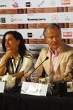 Κύρια συνέντευξη τύπου κριτικών επιτροπών ανταγωνισμού του διεθνούς φεστιβάλ ταινιών της 40ης Μόσχας στοκ φωτογραφία