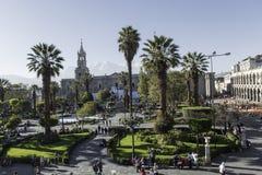 Κύρια τετράγωνο & x22 Plaza de Armas& x22  σε Arequipa, Περού Στοκ εικόνα με δικαίωμα ελεύθερης χρήσης