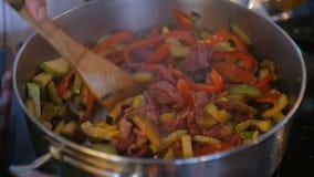 Κύρια τηγανίζοντας λαχανικά και κρέας μαγείρων στο τηγάνι φιλμ μικρού μήκους