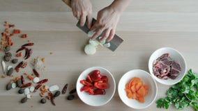 Κύρια χέρια που κόβουν τα κρεμμύδια, που κατασκευάζουν τη σαλάτα Κύρια τέμνοντα λαχανικά τοπ άποψης Υγιής τρόπος ζωής, τρόφιμα δι απόθεμα βίντεο