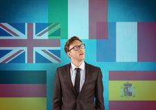 κύριες γλωσσικές σημαίες με την αδιαφάνεια γύρω από το νέο επιχειρηματία πρόσκληση συγχαρητηρίων καρτών ανασκόπησης διανυσματική απεικόνιση
