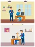 Κύριος εποπτεύων νέος εργαζόμενος από το lap-top, εργασία γραφείων απεικόνιση αποθεμάτων