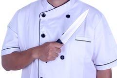Κύριος μάγειρας με το μαχαίρι στο χέρι του Στοκ Εικόνες