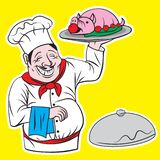 Κύριος μάγειρας με το χαρακτήρα κινουμένων σχεδίων απεικόνισης δίσκων ελεύθερη απεικόνιση δικαιώματος