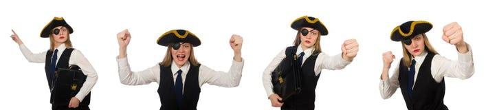 Κύριος πειρατής γυναικών που απομονώνεται στο λευκό Στοκ Φωτογραφίες