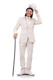 Κύριος στο άσπρο κοστούμι που απομονώνεται στο λευκό Στοκ φωτογραφίες με δικαίωμα ελεύθερης χρήσης