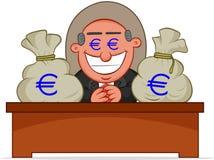 Κύριο άτομο άπληστο με τις τσάντες χρημάτων. Στοκ εικόνα με δικαίωμα ελεύθερης χρήσης
