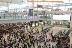 Κύριο εκτελεστικό γεγονός αποσκευών διαμαρτυρίας στον αερολιμένα Χονγκ Κονγκ Στοκ Φωτογραφία