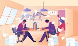 Κύριο να φωνάξει στους εργαζομένους γραφείων υπαλλήλων διανυσματική απεικόνιση
