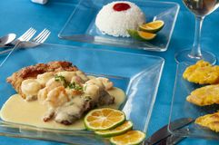 Κύριο πιάτο των γαρίδων με μια σάλτσα, ρύζι και patacones στοκ φωτογραφία