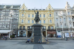 Κύριο τετράγωνο στο Ζάγκρεμπ, Κροατία Στοκ Φωτογραφίες