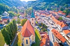 Κύριο τετράγωνο Samobor και εναέρια άποψη πύργων εκκλησιών στοκ εικόνα με δικαίωμα ελεύθερης χρήσης